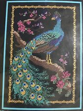 "Dimensions Proud Peacock Cross Stitch Kit  #6747 Peafowl Bird 5x7"" Blue Feathers"