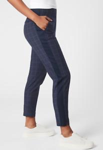 ATHLETA Brooklyn Textured Ankle Pant 0 (XS) Windowpane Navy | Everyday, Work NEW