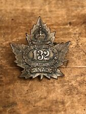 Antique Wwi North Shore Battalion 132nd New Brunswick Canada Collar Badge