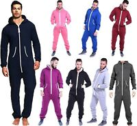 Mens All In One Piece Jumpsuit Fleece Plain Suit Hoodie