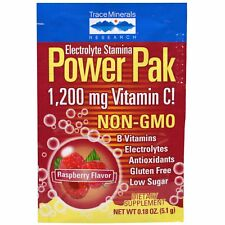 Trace Mineral Research Electrolyte Stamina Power Pak Raspberry 30 Packets