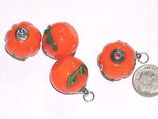 1 Lampwork Glass Pumpkin Fruit BOTTLE Potion pendant charm Halloween Screw top *