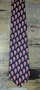 """Eddie Bauer Men's 100% Silk Tie Necktie Blue Red White Paisley 58"""" x 4"""" USA Made"""