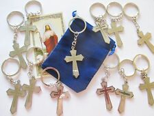 Wholesale Lot of 12 Metal Cross Key Chains with Key Ring, Great Gifts