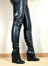 Gr.45 TOP SP Exklusiv Sexy Damen Schuhe Overknee Wedges Stiefel Männer Boots E8