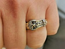 Diamond set, Solid Gold Buckle Ring, Mens Jewellery, UK hallmarked #Mq