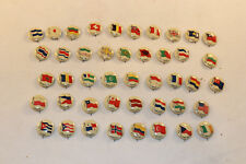 Set of 44 Vintage Tobacco Advertising c.1917 Countries & Flags Pinback Buttons