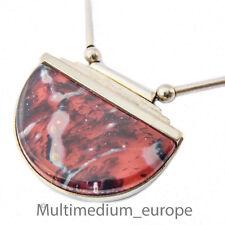 Art Deco Halskette WMF Ikora Glas Schmuck rot marmoriert Anhänger Collier myra