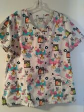 Women's Scrub Star® Easter Theme Scrub Top = Chicks Eggs Flowers Size M Nwot