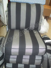 2 p Frontgate Carlisle Outdoor Lounge Sofa Chair Cushion Black Gray Stripe 24x26