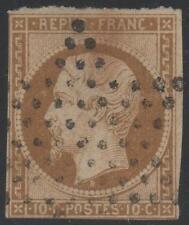 "FRANCE STAMP TIMBRE N° 9 "" NAPOLEON 10c BISTRE-JAUNE 1852 "" OBLITERE TB A VOIR"