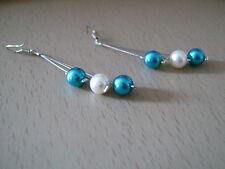 Boucles d'Oreille couleur Ivoire/Bleu Turquoise p robe de Mariée/Mariage/soirée