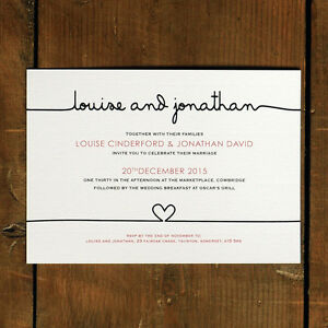 Scribble Wedding Invitation - Day Evening RSVP Save the Date Whimsical Unique