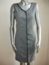 CRAZY HORSE  LIZ CLAIBORNE DRESS GRAY BLACK size 10 SLEEVELESS BUTTON BEAUTIFUL