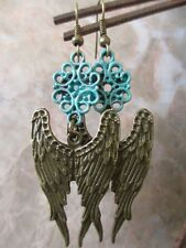 Bronze Vintage Turquoise Antique Patina Guardian Angel Feather Wings Earrings