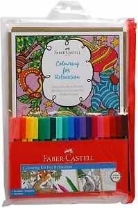 Faber-Castell Assorted Coloring For Relaxation Kit -(20 Sketch Pen And 14 Cards)