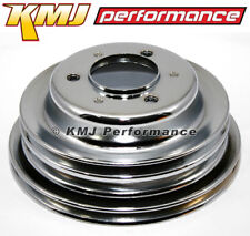 BBC Chevy 3 Groove Chrome Crankshaft Pulley For Long Water Pump - 396 427 454