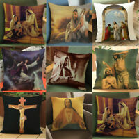 "18""Jesus Home Sofa Chair Decor Pillowcase Throw Pillow Case Waist Cushion Covers"