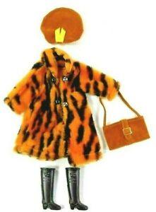 Barbie Vintage Clone Mod Leopard Coat Suede Hat w/Matching Bag Hong Kong Boots