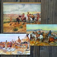 11 Diff Vintage Original 1930s CHARLES RUSSELL Indian Western ART Prints NOS