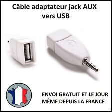 FICHE JACK 3,5MM AUX USB ADAPTATEUR MALE AUDIO MP3 SON CONVERTISSEUR SMARTPHONE