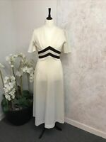 Vintage 1970s Cream and Brown Maxi Dress Size 16