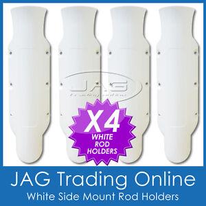 4 x SIDE MOUNT WHITE PLASTIC STRAIGHT ROD HOLDERS - Boat/Tinny/Kayak/Fishing