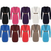 New Womens Plunge V Neck Buckle Gold Belt Bodycon Dress Ladies Long Sleeve Top