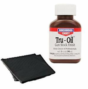 Birchwood Casey Tru-Oil Gun Stock Finish / Stain 3oz with 2 Absorbent Pads