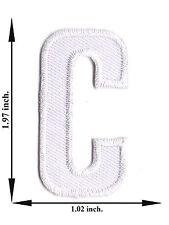 """ C "" White Alphabet Letter English Language Applique Iron on Patch Sew For Hat"