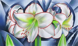 amaryllis winter fantasy WHITE FLOWERS CERAMIC TILE MURAL BACKSPLASH MEDALLION