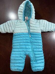 Columbia Powder Lite Reversible Baby Bunting 3-6 months Puffer Snowsuit EUC