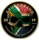 2019 1 Oz Silver South Africa FLAG SKULL KRUGERRAND Coin WITH 24K GOLD GILDED.