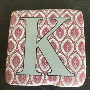 Coaster-Rustic Resin Alphabet  K