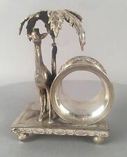 Antique Rockford Silverplate Figural Napkin Ring - Giraffe with Palm Tree 145
