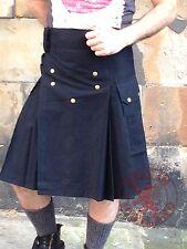 Mens Black Buckle Straps Fashion Sport Utility Kilt Deluxe Kilt Adjustable Sizes