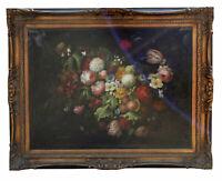"48"" Large Oil Painting Canvas Signed M. Leonardo Still Life Amazing Flowers"