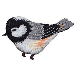 "Chickadee Bird Applique Patch - Grey, Yellow 2.25"" (Iron on)"