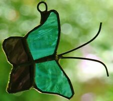 Sm PURPLE & BLUE BUTTERFLY stained glass suncatcher GARDEN DECO FLUTTERBUG GIFTS