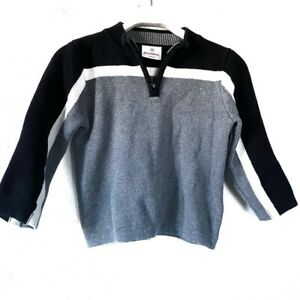 Hanna Andersson Boy's Gray Black White Half Zip Pullover Knit Sweater 100cm