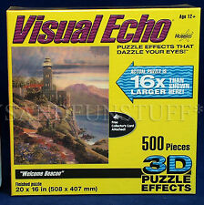 New VISUAL ECHO 3D Jigsaw Puzzle - WELCOME BEACON Lighthouse 500 Pc HOBBICO 2007