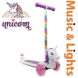 Girls Unicorn Scooter With Lightning Wheels and Sound Effects With Brakes