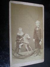 Cdv old photograph children rocking horse by John Swart c1880s