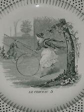 """ASSIETTE A THEME"""" LE CERCEAU"""" N°3 CREIL MONTEREAU LEBEUF MILLET & CIE"""