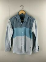 Bowling Smart Fit Men's Long Sleeve Shirt with Pocket - Size Large - Blue Check
