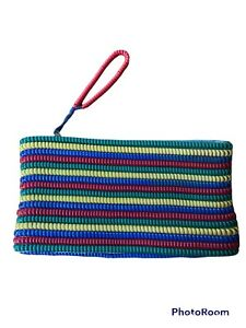 Vintage 1940's Telephone Phone Cord Purse / Clutch Red, Yellow, green & Blue