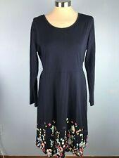 Vote Pretty XL Womens Dress Navy Blue Floral Bottom Simple  L/S