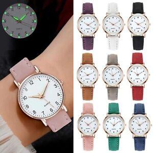 Luminous Waterproof Leather Band Strap Wristwatch