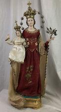 Madonna del Rosario 66 cm Mary statua vestita legno argilla arte sacra Napoli