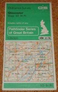 UK ORDNANCE SURVEY Pathfinder (1:25000) Map SO 81/91 - Gloucester